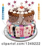 Clipart Of A Funky Two Tiered Birthday Cake With Stars Stripes And A Cherry Candles On The Side Royalty Free Vector Illustration