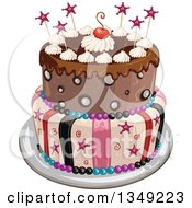 Clipart Of A Funky Two Tiered Birthday Cake With Stars Stripes And A Cherry Royalty Free Vector Illustration
