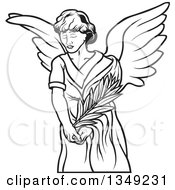 Clipart Of A Black And White Female Angel Holding A Branch Royalty Free Vector Illustration by dero