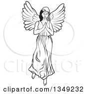 Clipart Of A Black And White Female Angel Praying Royalty Free Vector Illustration by dero