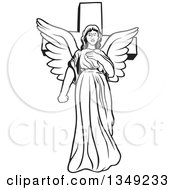 Clipart Of A Black And White Female Angel In Front Of A Cross Royalty Free Vector Illustration by dero