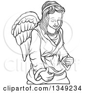 Clipart Of A Black And White Female Angel Royalty Free Vector Illustration by dero