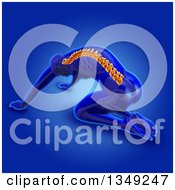 Clipart Of A 3d Anatomical Man Stretching And Kneeling On The Floor With Visible Skeleton And Glowing Spine On Blue Royalty Free Illustration