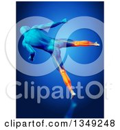 Clipart Of A 3d Blue Anatomical Man Kicking With Visible Glowing Calves On Blue Royalty Free Illustration