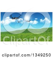 3d Metal Quadcopter Drones Flying Over Grassy Hills And Sky