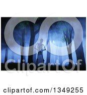 Clipart Of A 3d Halloween Skeleton Walking In A Foggy Forest At Night Royalty Free Illustration