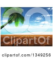 Clipart Of A 3d Wood Deck Against A Tropical Beach With A Leaning Palm Tree Royalty Free Illustration