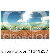 Clipart Of A 3d Wood Table Or Deck Against Daisies And A Sunny Valley Royalty Free Illustration by KJ Pargeter
