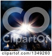 Clipart Of A 3d Planet Earth Showing Lights At Night With A Sunrise Royalty Free Illustration