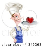 Clipart Of A White Male Chef With A Curling Mustache Holding A Heart On A Tray Royalty Free Vector Illustration