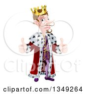 Clipart Of A Posh And Snooty Caucasian King Giving Two Thumbs Up Royalty Free Vector Illustration