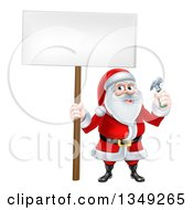 Clipart Of A Happy Christmas Santa Claus Carpenter Holding A Hammer And Blank Sign 6 Royalty Free Vector Illustration
