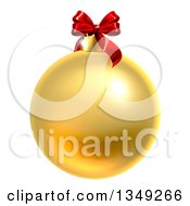 Clipart Of A 3d Gold Christmas Bauble Ornament With A Red Bow Royalty Free Vector Illustration by AtStockIllustration