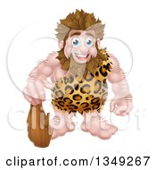 Cartoon Muscular Happy Caveman Standing With A Club