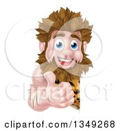 Clipart Of A Cartoon Happy Caveman Giving A Thumb Up Around A Sign Royalty Free Vector Illustration by AtStockIllustration