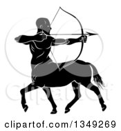 Clipart Of A Black And White Centaur Archer Half Man Half Horse Aiming To The Right Royalty Free Vector Illustration by AtStockIllustration
