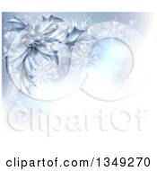 Clipart Of A Christmas Background Of Frozen Holly Berries Snowflakes And Flares With A Corner Of Text Space Royalty Free Vector Illustration