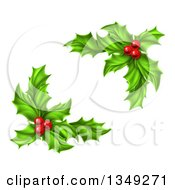 Clipart Of Green Holly Leaves And Christmas Berries Royalty Free Vector Illustration by AtStockIllustration