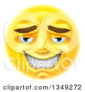 Clipart Of A 3d Yellow Male Smiley Emoji Emoticon Face With An Embarassed Expression Royalty Free Vector Illustration by AtStockIllustration