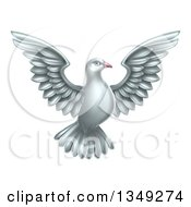 Clipart Of A Flying White Peace Dove Royalty Free Vector Illustration by AtStockIllustration