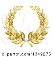 Clipart Of A Round Gold Laurel Wreath Royalty Free Vector Illustration by AtStockIllustration