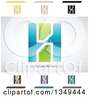 Clipart Of Abstract Letter H Logo Design Elements Royalty Free Vector Illustration