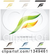 Clipart Of Abstract Letter F Logo Design Elements Royalty Free Vector Illustration by cidepix