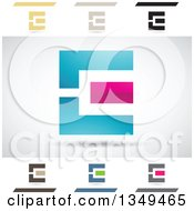 Clipart Of Abstract Letter E Logo Design Elements Royalty Free Vector Illustration