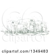 Clipart Of A Green Sketched Hand Drawn Herd Of Elephants Royalty Free Vector Illustration by Lal Perera