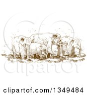 Clipart Of A Brown Sketched Hand Drawn Herd Of Elephants Royalty Free Vector Illustration by Lal Perera