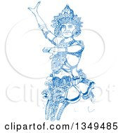 Clipart Of A Blue Sketched Hand Drawn Kandyan Dancer Royalty Free Vector Illustration by Lal Perera