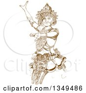 Clipart Of A Brown Sketched Hand Drawn Kandyan Dancer Royalty Free Vector Illustration