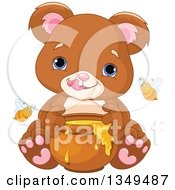 Clipart Of A Cute Baby Bear Cub Eating Honey With Bees Royalty Free Vector Illustration by Pushkin