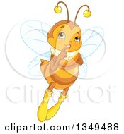 Clipart Of A Flying And Thinking Flirty Female Bee Royalty Free Vector Illustration by Pushkin
