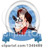 Clipart Of A Beautiful Brunette Caucasian Woman Holding A Boston Terrier Dog In An Oval Of Diamonds Over A Blank Blue Banner Royalty Free Vector Illustration