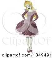 Clipart Of A Halloween Zombie Sleeping Beauty Princess Posing With Hands On Her Hips Royalty Free Vector Illustration by Pushkin