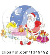 Clipart Of A Blond White Girl Sleeping While Santa Sets A Gift On Her Bed Royalty Free Vector Illustration by Alex Bannykh