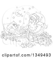 Lineart Clipart Of A Black And White Girl Sleeping While Santa Sets A Gift On Her Bed Royalty Free Outline Vector Illustration