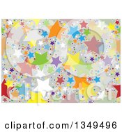 Clipart Of A Seamless Background Pattern Of Colorful Stars And Dots Over Gray Royalty Free Vector Illustration by dero