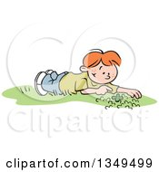 Cartoon Red Haired White Boy Discovering A Four Leaf Clover In A Patch