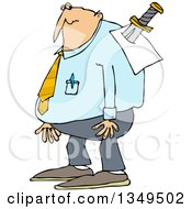 Clipart Of A Cartoon Chubby Caucasian Businessman With A Knife In His Back Royalty Free Vector Illustration by djart