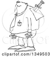 Outline Clipart Of A Cartoon Black And White Chubby Businessman With A Knife In His Back Royalty Free Lineart Vector Illustration