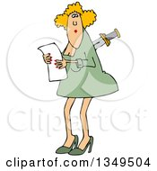 Clipart Of A Cartoon Caucasian Business Woman With A Knife In Her Back Royalty Free Vector Illustration by Dennis Cox