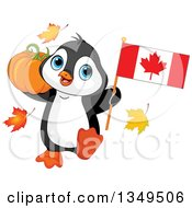Clipart Of A Cute Penguin Holding A Canadian Flag And A Thanksgiving Pumpkin Royalty Free Vector Illustration