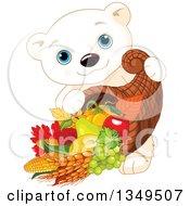 Cartoon Cute Polar Bear Cub Carrying A Thanksgiving Cornucopia