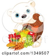 Clipart Of A Cartoon Cute Polar Bear Cub Carrying A Thanksgiving Cornucopia Royalty Free Vector Illustration