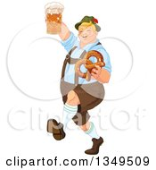 Clipart Of A Happy Blond Oktoberfest German Man Marching Holding A Beer Mug And Soft Pretzel Royalty Free Vector Illustration by Pushkin