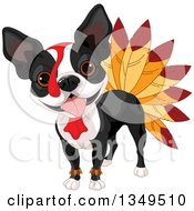 Clipart Of A Thanksgiving Boston Terrier Dog Dressed As A Turkey Royalty Free Vector Illustration