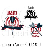 Clipart Of Throwing Dart And Target Designs With Text Royalty Free Vector Illustration