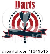 Clipart Of A Navy Blue Throwing Dart Over A Target With Text Stars And A Blank Ribbon Banner Royalty Free Vector Illustration